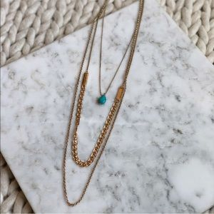 3 for $25 SALE Francesca's Turquoise Gold Necklace